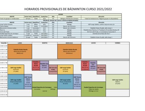 Horarios provisionales para el curso 2021/22